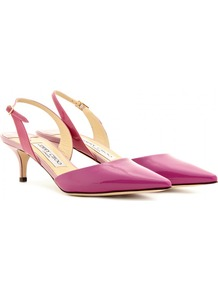 Varia Patent Leather Sling Back Pumps - predominant colour: hot pink; occasions: evening, work, occasion; material: leather; heel height: mid; ankle detail: ankle strap; heel: kitten; toe: pointed toe; style: slingbacks; finish: patent; pattern: plain