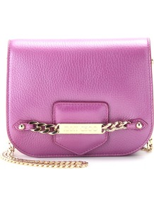 Shadow Leather Shoulder Bag - predominant colour: magenta; occasions: casual, evening, occasion, holiday; type of pattern: light; style: shoulder; length: across body/long; size: small; material: leather; pattern: plain; finish: metallic; embellishment: chain/metal