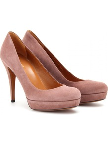 Betty Suede Platform Pumps - predominant colour: pink; occasions: evening, work, occasion; material: suede; heel height: high; heel: platform; toe: round toe; style: courts; finish: plain; pattern: plain