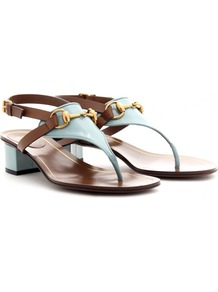 Alyssa Patent Leather Thong Sandals With Block Heel - predominant colour: pale blue; occasions: casual, evening, work, holiday; material: leather; heel height: mid; embellishment: snaffles; ankle detail: ankle strap; heel: block; toe: toe thongs; style: flip flops / toe post; finish: patent; pattern: two-tone