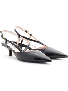 Patent Leather Sling Back Pumps - predominant colour: black; occasions: evening, work, occasion; material: leather; heel height: mid; embellishment: buckles; heel: kitten; toe: pointed toe; style: slingbacks; finish: patent; pattern: plain