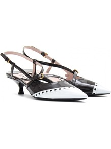 Two Tone Boxcalf Sling Back Pumps - predominant colour: black; occasions: evening, work, occasion; material: leather; heel height: mid; embellishment: buckles; heel: kitten; toe: pointed toe; style: slingbacks; finish: patent; pattern: plain