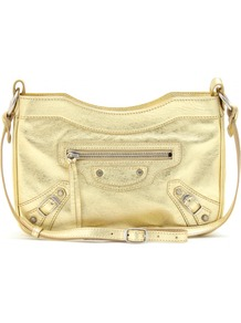 Classic Hip Shoulder Bag - predominant colour: gold; occasions: casual, evening; type of pattern: standard; style: shoulder; length: shoulder (tucks under arm); size: standard; material: leather; embellishment: zips; pattern: plain; trends: metallics; finish: metallic
