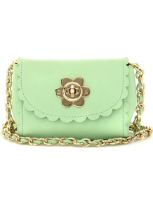 Flower Mini Leather Shoulder Bag - predominant colour: mint green; occasions: casual, evening, occasion, holiday; type of pattern: large; style: shoulder; length: across body/long; size: small; material: suede; pattern: plain; trends: fluorescent, sculptural frills; finish: plain; embellishment: chain/metal