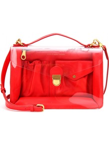 Transparent Handbag With Leather Detail - predominant colour: true red; occasions: casual; style: satchel; length: across body/long; size: standard; material: leather; pattern: plain; finish: patent