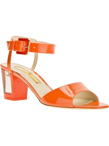 Block Heel Sandal - predominant colour: bright orange; occasions: casual, evening, holiday; material: leather; heel height: mid; ankle detail: ankle strap; heel: block; toe: open toe/peeptoe; style: standard; finish: patent; pattern: plain