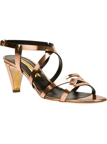 Strappy Sandal - predominant colour: bronze; occasions: evening, occasion, holiday; material: leather; heel height: mid; ankle detail: ankle strap; heel: cone; toe: open toe/peeptoe; style: strappy; trends: metallics; finish: metallic; pattern: plain