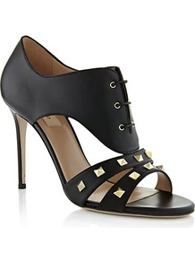 Rockstud Lace Up Shoe - predominant colour: black; occasions: evening, occasion; material: leather; heel height: high; embellishment: studs; heel: stiletto; toe: open toe/peeptoe; style: standard; finish: plain; pattern: plain