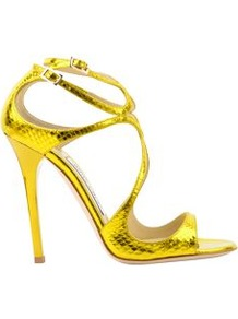 Watersnake Strappy Sandal - predominant colour: gold; occasions: evening, occasion; material: leather; heel height: high; ankle detail: ankle strap; heel: stiletto; toe: open toe/peeptoe; style: strappy; trends: metallics; finish: metallic; pattern: animal print