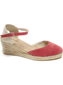 Pink Espadrille Style Wedge Sandal - predominant colour: true red; occasions: casual, holiday; material: fabric; heel height: mid; ankle detail: ankle strap; heel: wedge; style: standard; finish: plain; pattern: plain