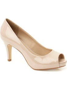 Beige Tlc Suede Wide Fit Peep Toe Court Shoe - predominant colour: stone; occasions: evening, work, occasion; material: faux leather; heel height: high; heel: platform; toe: open toe/peeptoe; style: courts; finish: patent; pattern: plain