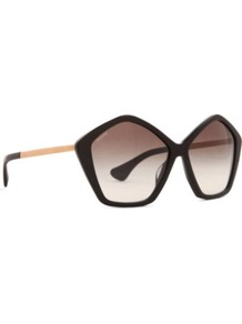 Culte Pentagonal Sunglasses - predominant colour: black; occasions: casual, holiday; style: novelty; size: large; material: plastic/rubber; pattern: plain; finish: plain