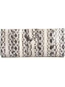 Miretta Clutch - predominant colour: white; occasions: evening, occasion; type of pattern: standard; style: clutch; length: hand carry; size: small; material: leather; pattern: animal print; finish: plain