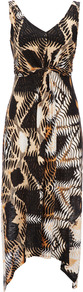 Brown Animal Print Petite Dress - length: calf length; neckline: low v-neck; fit: empire; sleeve style: sleeveless; waist detail: twist front waist detail/nipped in at waist on one side/soft pleats/draping/ruching/gathering waist detail; predominant colour: chocolate brown; occasions: casual, evening, occasion, holiday; style: asymmetric (hem); fibres: viscose/rayon - 100%; sleeve length: sleeveless; texture group: sheer fabrics/chiffon/organza etc.; trends: statement prints; pattern type: fabric; pattern size: small &amp; busy; pattern: patterned/print