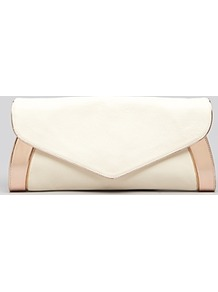 Clutch Anna - predominant colour: ivory; occasions: evening, occasion; type of pattern: light; style: clutch; length: hand carry; size: small; material: leather; pattern: plain; finish: patent