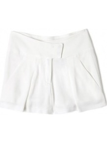 Pleat Front Crepe Shorts - pattern: plain; style: shorts; length: mid thigh shorts; waist: mid/regular rise; predominant colour: white; occasions: casual, work, holiday; fibres: viscose/rayon - 100%; texture group: crepes; fit: wide leg; pattern type: fabric