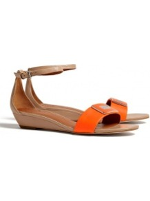 Peaces Flat Wedge Sandals - predominant colour: bright orange; occasions: casual, evening, work, holiday; material: leather; heel height: mid; embellishment: buckles; ankle detail: ankle strap; heel: wedge; toe: open toe/peeptoe; style: standard; finish: plain; pattern: colourblock