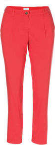 Cotton Trousers - pattern: plain; waist: mid/regular rise; predominant colour: coral; occasions: casual, evening, work, holiday; length: ankle length; fibres: cotton - stretch; texture group: cotton feel fabrics; fit: slim leg; pattern type: fabric; pattern size: standard; style: standard