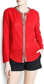 Ethnic Edges Blouse - pattern: plain; length: cropped; style: blouse; predominant colour: true red; occasions: casual; fit: straight cut; neckline: crew; sleeve length: long sleeve; sleeve style: standard; texture group: sheer fabrics/chiffon/organza etc.; pattern type: fabric; embellishment: embroidered; fibres: viscose/rayon - mix