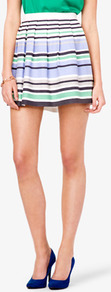 Essential Textured Woven Striped Skirt - length: mid thigh; pattern: horizontal stripes; fit: loose/voluminous; style: pleated; waist: high rise; predominant colour: pale blue; occasions: casual, evening, work, holiday; fibres: cotton - stretch; hip detail: structured pleats at hip; waist detail: narrow waistband; trends: striking stripes; pattern type: fabric; pattern size: small & light; texture group: jersey - stretchy/drapey