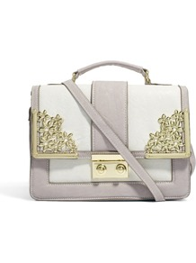 Bag With Metal Flower Fitting And Tophandle - predominant colour: lilac; occasions: casual, work; type of pattern: standard; style: satchel; length: across body/long; size: small; material: faux leather; finish: plain; pattern: colourblock; embellishment: chain/metal