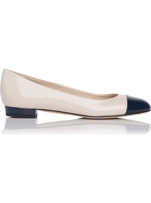 Scott Toe Cap Leather Ballerina Flat Blue Navy - predominant colour: ivory; occasions: casual, work; material: leather; heel height: flat; toe: round toe; style: ballerinas / pumps; finish: patent; pattern: plain