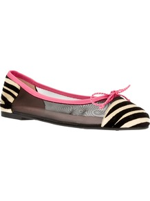 Printed Mesh Ballet Flat - predominant colour: black; occasions: casual; material: leather; heel height: flat; toe: round toe; style: ballerinas / pumps; finish: plain; pattern: animal print; embellishment: bow