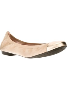 Contrast Ballet Flat - predominant colour: nude; occasions: casual, evening, work, holiday; material: suede; heel height: flat; toe: round toe; style: ballerinas / pumps; trends: metallics; finish: metallic; pattern: plain; embellishment: toe cap