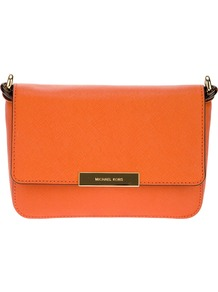 'Cynthia' Satchel - predominant colour: bright orange; occasions: casual, evening, occasion; style: shoulder; length: across body/long; size: small; material: leather; pattern: plain; finish: plain; embellishment: chain/metal