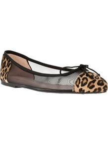 'Arena' Mesh Ballet Flat - predominant colour: black; occasions: casual, work; material: leather; heel height: flat; toe: round toe; style: ballerinas / pumps; finish: plain; pattern: animal print; embellishment: bow