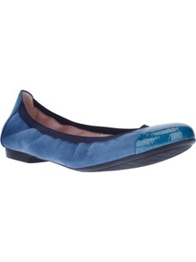 Patent Toe Pump - predominant colour: royal blue; occasions: casual, evening, work, holiday; material: suede; heel height: flat; toe: round toe; style: ballerinas / pumps; finish: patent; pattern: plain