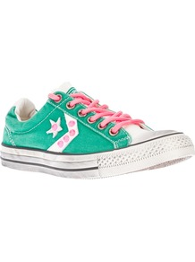 Lace Up Trainer - predominant colour: mint green; occasions: casual; material: fabric; heel height: flat; embellishment: studs; toe: round toe; style: trainers; finish: plain; pattern: patterned/print