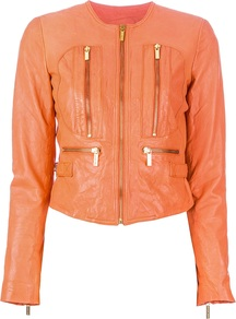 Leather Jacket - pattern: plain; style: biker; bust detail: added detail/embellishment at bust; collar: standard biker; length: cropped; fit: slim fit; predominant colour: bright orange; occasions: casual; fibres: leather - 100%; sleeve length: long sleeve; sleeve style: standard; texture group: leather; collar break: high/illusion of break when open; pattern type: fabric