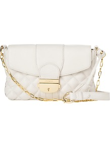 Mimi Small Quilted Bag - predominant colour: white; occasions: casual, evening, occasion; style: shoulder; length: across body/long; size: small; material: leather; embellishment: quilted; pattern: plain; finish: plain
