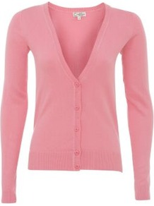 Bright Pink Basic V Neck Cardigan - neckline: plunge; pattern: plain; predominant colour: pink; occasions: casual; length: standard; style: standard; fibres: cotton - mix; fit: standard fit; sleeve length: long sleeve; sleeve style: standard; texture group: knits/crochet; pattern type: knitted - fine stitch
