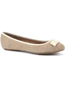 Extra Wide Fit Tan Raffia Bow Ballet Pumps - predominant colour: stone; occasions: casual, work; material: macrame/raffia/straw; heel height: flat; toe: round toe; style: ballerinas / pumps; finish: plain; pattern: two-tone; embellishment: bow