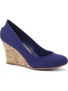 Cobalt Blue Canvas Cork Wedge Shoes - predominant colour: royal blue; occasions: casual, work, holiday; material: fabric; heel height: high; heel: wedge; toe: round toe; style: courts; finish: plain; pattern: plain