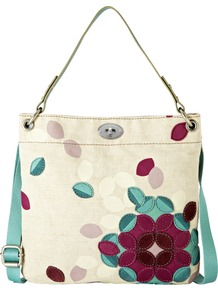 Hunter Hobo - occasions: casual; predominant colour: multicoloured; type of pattern: standard; style: tote; length: shoulder (tucks under arm); size: standard; material: fabric; pattern: florals; trends: high impact florals; finish: plain