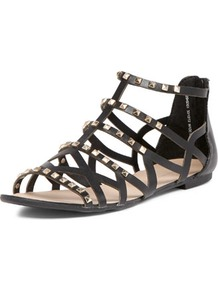 Black Gladiator Sandals - predominant colour: black; occasions: casual, holiday; material: leather; heel height: flat; embellishment: studs; ankle detail: ankle strap; heel: standard; toe: open toe/peeptoe; style: gladiators; finish: plain; pattern: plain