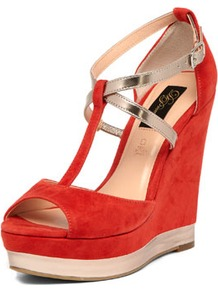 Red And Metallic Strap Wedges - predominant colour: true red; occasions: evening, occasion, holiday; material: suede; heel height: high; ankle detail: ankle strap; heel: wedge; toe: open toe/peeptoe; style: standard; finish: plain; pattern: plain