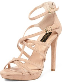 Nude Suede Strap Sandals - predominant colour: nude; occasions: evening, occasion, holiday; material: suede; heel height: high; ankle detail: ankle strap; heel: stiletto; toe: open toe/peeptoe; style: strappy; finish: plain; pattern: plain