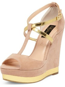 Nude And Metallic Strap Wedges - predominant colour: nude; occasions: evening, occasion, holiday; material: fabric; ankle detail: ankle strap; heel: wedge; toe: open toe/peeptoe; style: standard; finish: plain; pattern: colourblock; heel height: very high