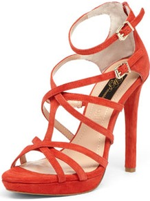 Red Suede Strap Sandals - predominant colour: true red; occasions: evening, occasion, holiday; material: suede; heel height: high; embellishment: buckles; ankle detail: ankle strap; heel: stiletto; toe: open toe/peeptoe; style: strappy; finish: plain; pattern: plain