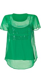 Silk Sequined Top In Vibrant Green - neckline: round neck; pattern: plain; bust detail: added detail/embellishment at bust; predominant colour: emerald green; occasions: casual, evening; length: standard; style: top; fibres: silk - mix; fit: straight cut; sleeve length: short sleeve; sleeve style: standard; texture group: sheer fabrics/chiffon/organza etc.; pattern type: fabric; pattern size: standard; embellishment: sequins