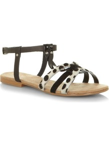 Dalmatian Print Leather T Bar Sandals - predominant colour: black; occasions: casual, holiday; material: leather; heel height: flat; embellishment: studs; ankle detail: ankle strap; heel: standard; toe: open toe/peeptoe; style: strappy; finish: plain; pattern: animal print