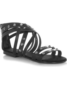 Black Studded Leather Gladiator Sandals - predominant colour: black; occasions: casual, holiday; material: leather; heel height: flat; embellishment: studs; ankle detail: ankle strap; heel: standard; toe: open toe/peeptoe; style: gladiators; finish: plain; pattern: plain
