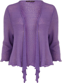 Purple Tie Front Shrug - pattern: plain; style: bolero/shrug; neckline: waterfall neck; length: cropped; predominant colour: purple; occasions: casual, evening, work; fibres: acrylic - mix; fit: standard fit; sleeve length: 3/4 length; sleeve style: standard; texture group: knits/crochet; pattern type: knitted - other; pattern size: standard