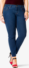 Fab Skinny Jeans (Short) - style: skinny leg; length: standard; pattern: plain; pocket detail: traditional 5 pocket; waist: mid/regular rise; predominant colour: navy; occasions: casual, evening, work, holiday; fibres: cotton - mix; jeans detail: dark wash; texture group: denim; pattern type: fabric; pattern size: standard