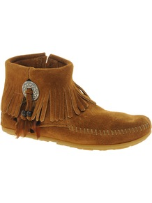 Concho Feather Side Zip Brown Ankle Boots - predominant colour: tan; occasions: casual; material: suede; heel height: flat; heel: standard; toe: round toe; boot length: ankle boot; style: standard; finish: plain; pattern: plain; embellishment: fringing
