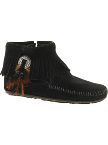Concho Feather Side Zip Black Ankle Boots - predominant colour: black; occasions: casual; material: suede; heel height: flat; heel: standard; toe: round toe; boot length: ankle boot; style: standard; finish: plain; pattern: plain; embellishment: fringing